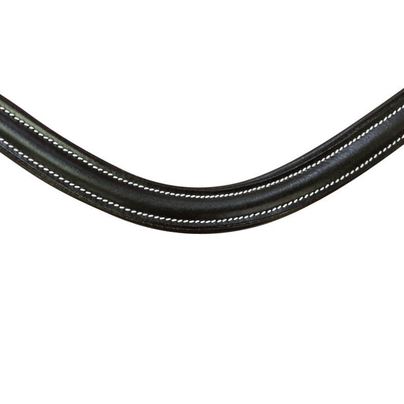Classic curved leather browband - (black leather)