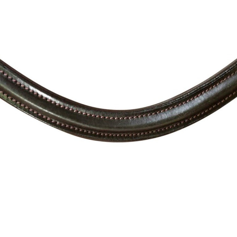 Classic curved leather browband - (brown leather)
