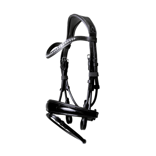 'Aurelie' Italian leather bridle (hanoverian) - black - Lumiere Equestrian