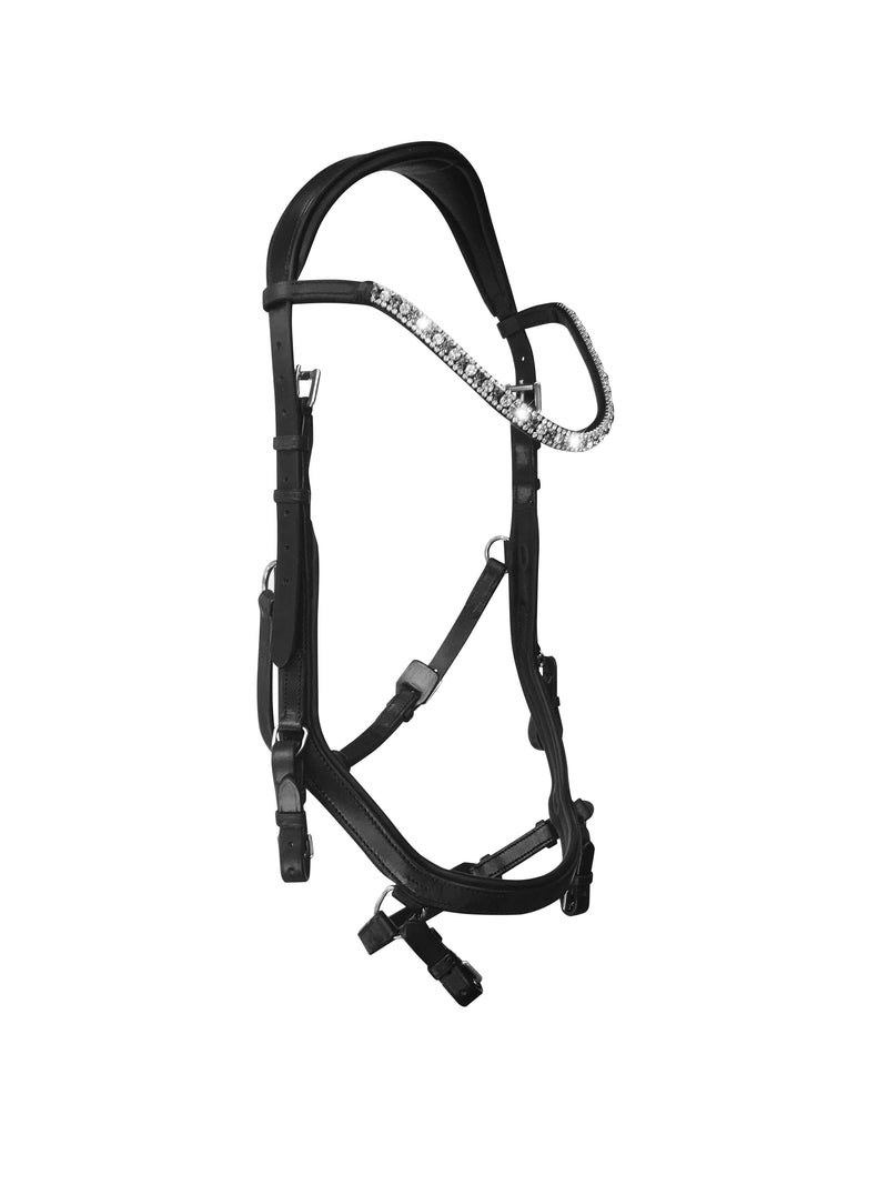 'Azure' Anatomic Italian leather bridle - black - Lumiere Equestrian