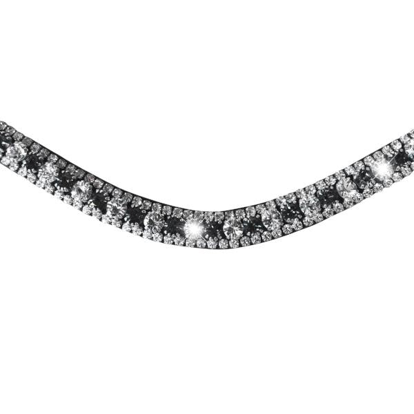 Silver, deep wave crystal browband - (black leather, smaller loop) - Lumiere Equestrian