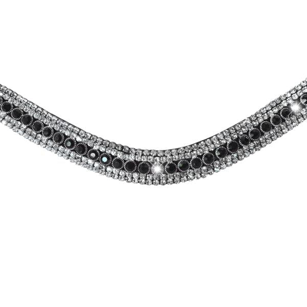 Black crystal browband - (black leather) - Lumiere Equestrian