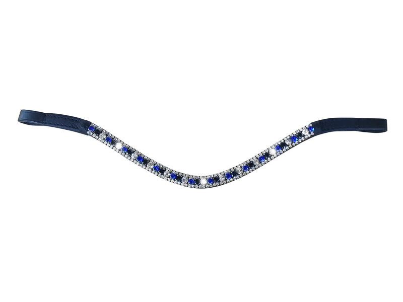 Blue crystal browband - (black leather) - Lumiere Equestrian