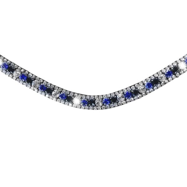 Blue, deep wave crystal browband - (black leather) - Lumiere Equestrian