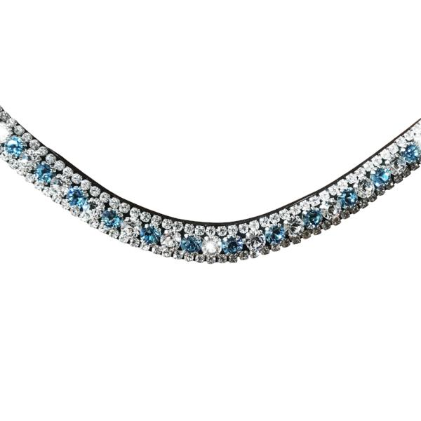 Baby blue, deep wave crystal browband - (brown leather) - Lumiere Equestrian