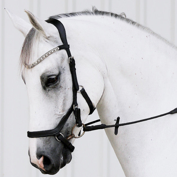 'Azure' (micklem style) Italian leather bridle - black - Lumiere Equestrian