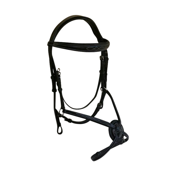 'Ava' Italian leather grackle bridle (no sheepskin) - black & brown - Lumiere Equestrian