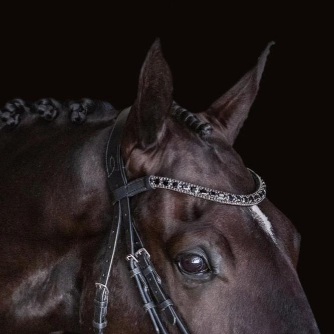 'Audrey' black Italian leather bridle - (double) - Lumiere Equestrian
