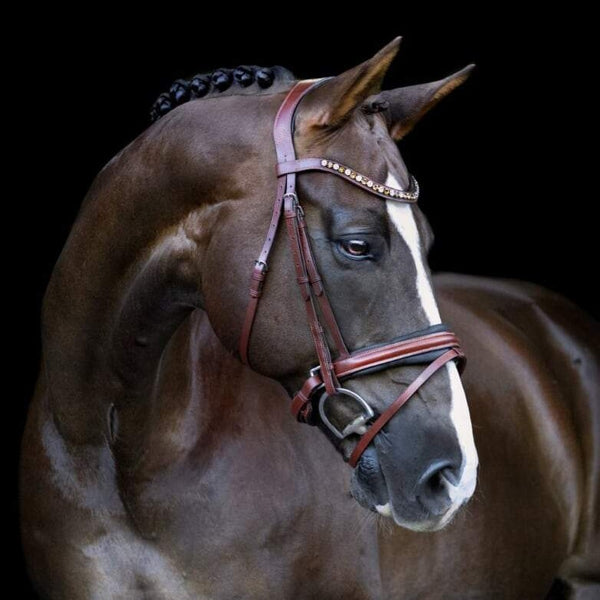 'Arabella' Italian leather bridle (hanoverian) - brown - Lumiere Equestrian
