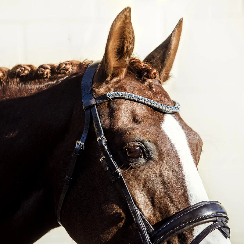 'Anastasia' Italian leather bridle (convertible) - brown - Lumiere Equestrian