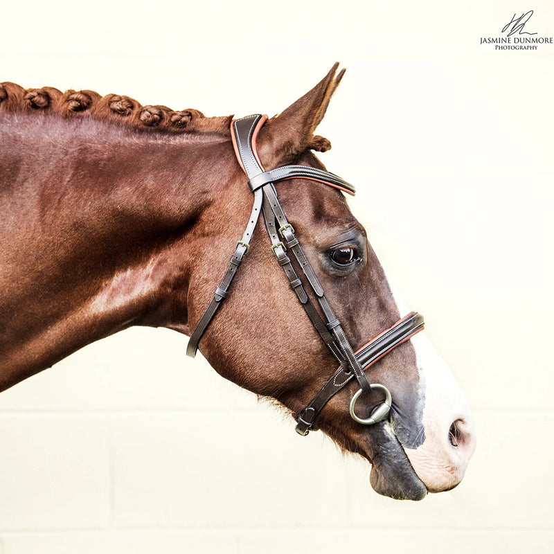 'Amour' brown Italian leather bridle (convertible) - Lumiere Equestrian