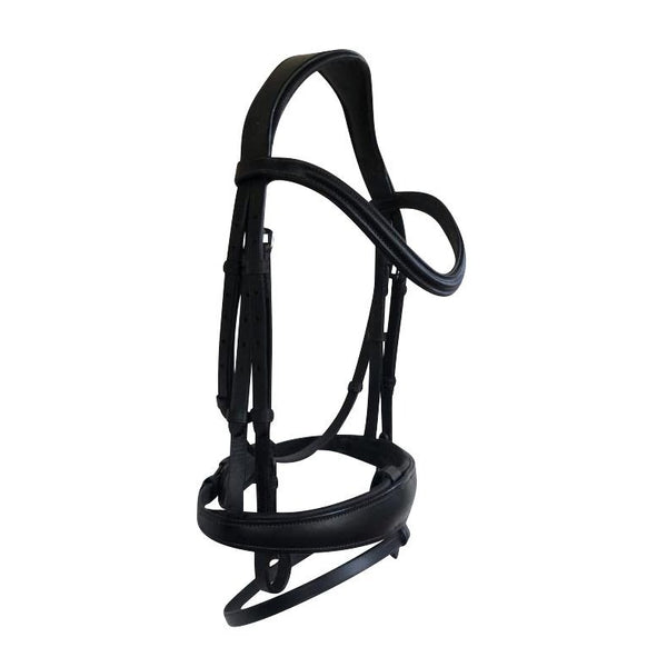 'Mikayla' Italian leather bridle (convertible) - black / brown - Lumiere Equestrian