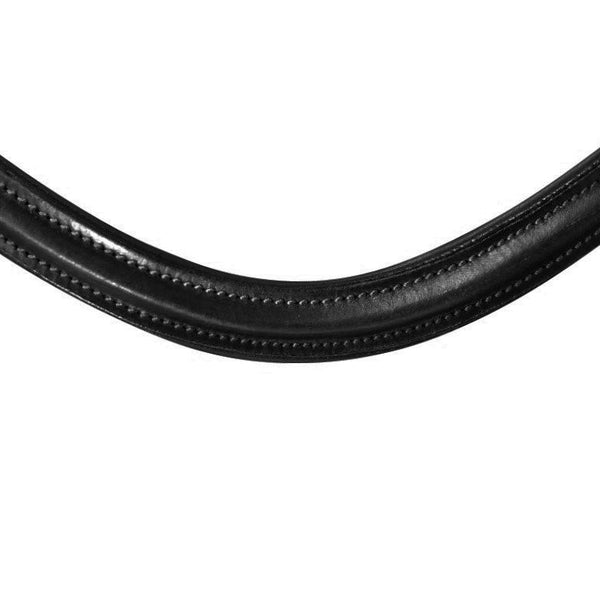 Classic curved leather browband (black stitching) - (black leather) - Lumiere Equestrian