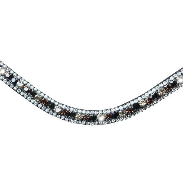 Amber, deep wave crystal browband - brown (small loop) - Lumiere Equestrian