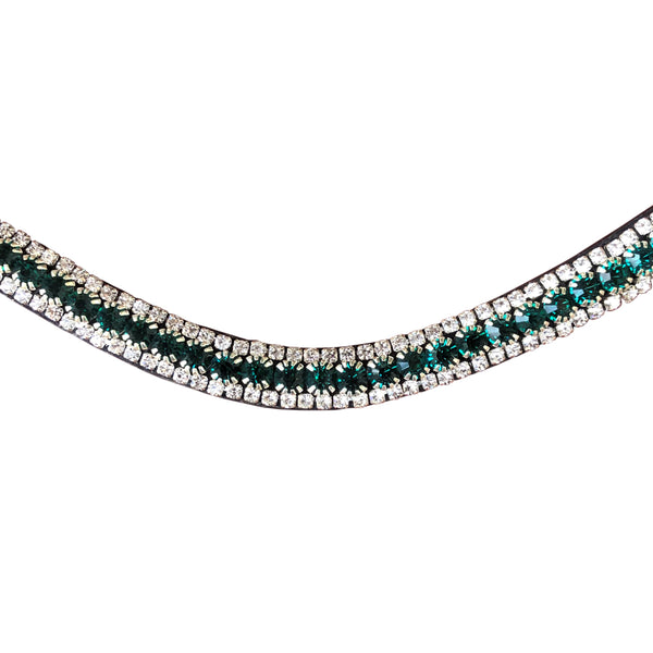 Emerald crystal browband - (black leather)