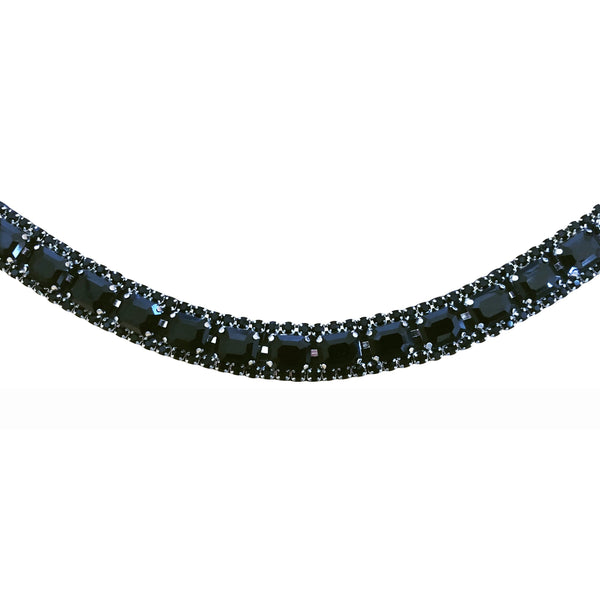 Onyx crystal browband - (black leather) - Lumiere Equestrian