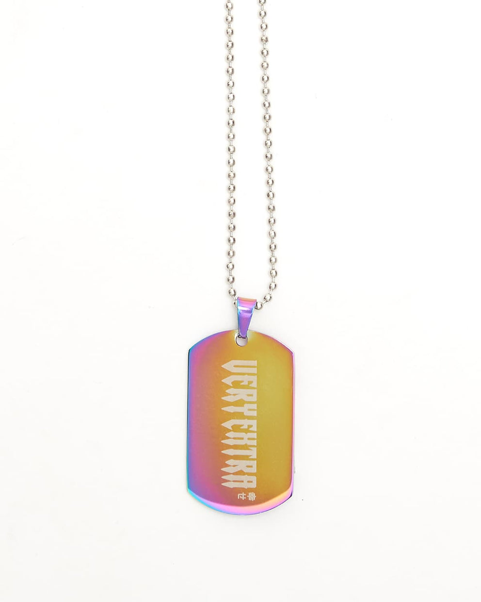 'Very Extra' Iridescent Aluminum Dog Tag