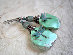 Hand cut green variscite free form slab earrings with dragonfly charms