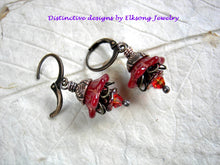 Load image into Gallery viewer, Fire flower earrings with red glass flowers, fire opal swarovski crystals & antiqued copper caps.