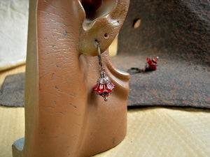 Dainty flower earrings with red glass flowers, fire opal swarovski crystals & antiqued copper caps.