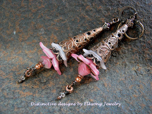 Pink Elven wand earrings, faery flower statement earrings in shades of rose, copper filigree, romantic faery couture jewelry