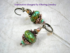 Colorful boho earrings, simple bead stack style, with mosaic magnesite, turquoise & faceted glass beads. Green, aqua & amber colors.
