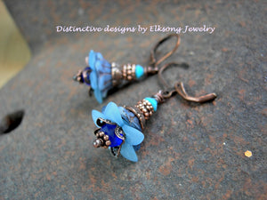 Baby blue flower drop earrings with glass & resin flowers, cobalt etched & faceted crystal rondelles and copper.