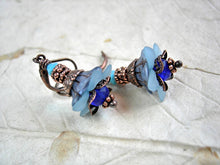 Load image into Gallery viewer, Dainty flower drop earrings in shades of blue with glass & resin flowers, etched & faceted crystal rondelles and copper.