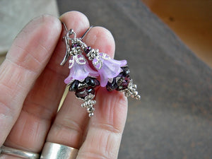 Victorian flower earrings in delicate purple resin flowers, dark amethyst glass flowers & silvery details.