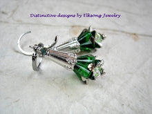 Load image into Gallery viewer, Flower drop earrings in Elven green & silver. Emerald green glass flowers, silver finish details & crystal.