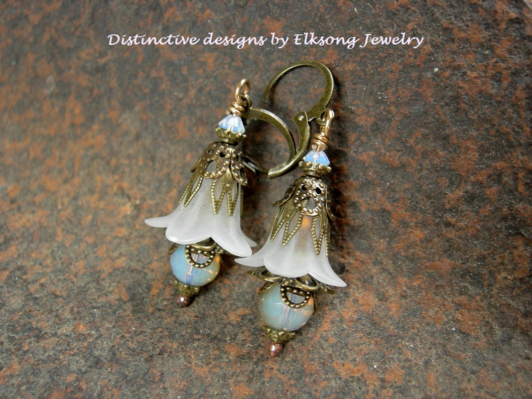 White bell flower earrings, delicate frosted sparkle, vintage style floral earrings with crystal & antiqued brass.