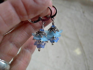 Romantic blue flower earrings with resin flowers, silvery filigree & crystal. Vintage style faery couture earrings.
