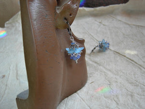 Dainty blue flower earrings with resin flowers, silvery filigree & crystal. Vintage style faery couture earrings.
