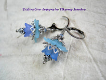 Load image into Gallery viewer, Sky blue flower earrings with resin flowers, silvery filigree & crystal. Vintage style faery couture earrings.