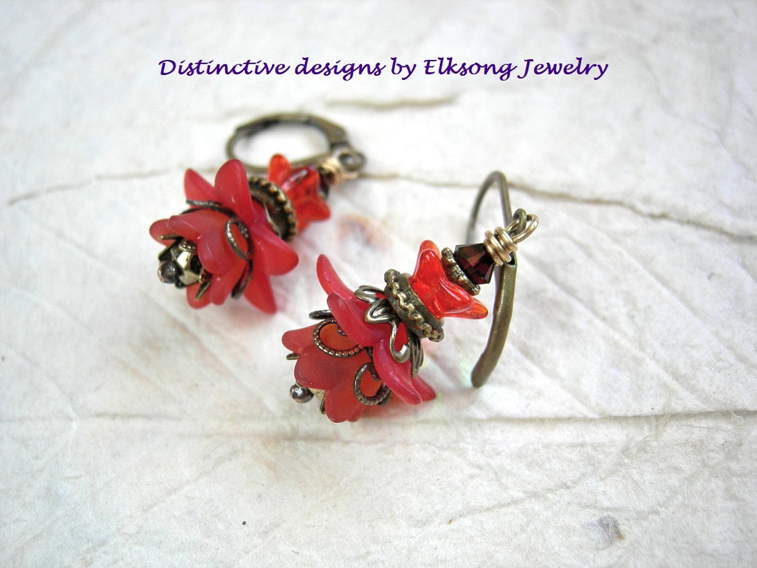 Fiery red flower drop earrings, vintage faery couture style with resin & glass flowers, crystal & antiqued brass.