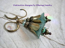 Load image into Gallery viewer, Mellow turquoise bell flower earrings with resin & glass flowers, antiqued brass tulip caps & beads & faceted crystal.