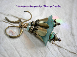 Mellow turquoise bell flower earrings with resin & glass flowers, antiqued brass tulip caps & beads & faceted crystal.