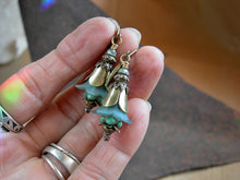 Load image into Gallery viewer, Faery couture turquoise bell flower earrings with resin & glass flowers, antiqued brass tulip caps & beads & faceted crystal.