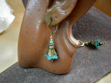 Load image into Gallery viewer, Boho romance turquoise bell flower earrings with resin & glass flowers, antiqued brass tulip caps & beads & faceted crystal.