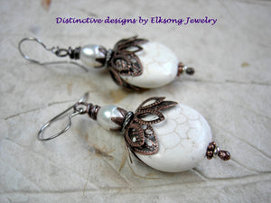 Basic white stone & pearl earrings, natural magnesite discs & freshwater pearls. Antiqued copper filigree style caps.