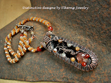 Load image into Gallery viewer, Copper tree art necklace with wire wrapped tree & faceted carnelian focal, woven seed bead rope necklace. Shades of orange & copper.