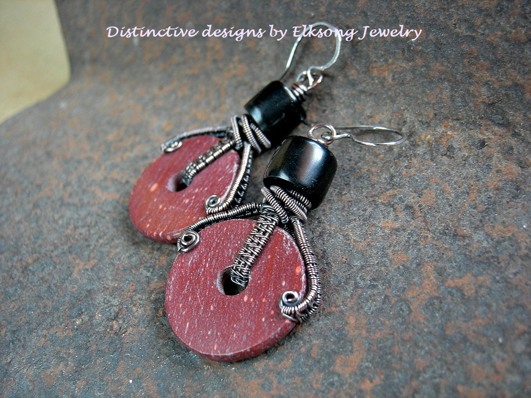 Pipestone wheel earrings with hand cut natural red catlinite, hand cut jet beads & copper wire wrapping.