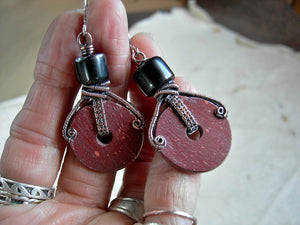 Boho tribal pipestone wheel earrings with hand cut natural red catlinite, hand cut jet beads & copper wire wrapping.