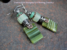 Load image into Gallery viewer, Hand cut green ricolite stone tab earrings, green gemstone & sterling wire wrap.