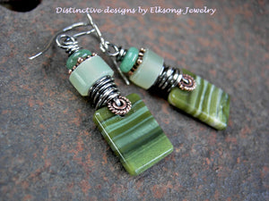 Hand cut green ricolite stone tab earrings, green gemstone & sterling wire wrap.