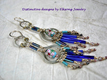 Load image into Gallery viewer, Urban gypsy chandelier earrings in blues & brass. Vintage glass bugle beads, cloisonne & repurposed hardware.