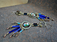 Load image into Gallery viewer, Industrial boho chandelier earrings in blues & brass. Vintage glass bugle beads, cloisonne & repurposed hardware.