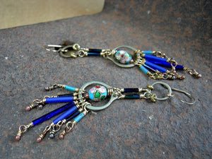 Industrial boho chandelier earrings in blues & brass. Vintage glass bugle beads, cloisonne & repurposed hardware.