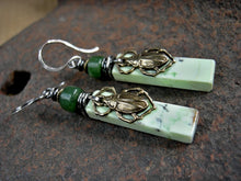 Load image into Gallery viewer, Earthy elegant stone earrings with hand cut lemon variscite tabs & green jade beads, sterling wire wrap & antiqued gold scarab beetles.