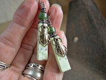 Load image into Gallery viewer, Unique green stone earrings with hand cut lemon variscite tabs & jade beads, sterling wire wrap & antiqued gold scarab beetles.